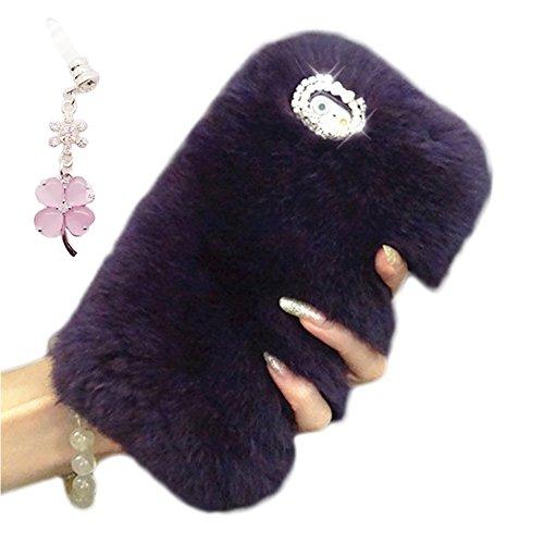 Artificial Conejo Pelaje Funda para Samsung Galaxy Note 5, Bonice Superior Quality Rubber Protective Case Linda caja del teléfono Invierno Cálido Lujo piel Sintética Conejo Elegante Bling Glitter y Br A-Negro