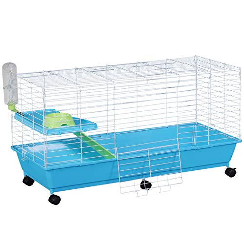 PawHut 40″ Steel Plastic Small Animal Pet Cage Kit with Wheels – Blue and White