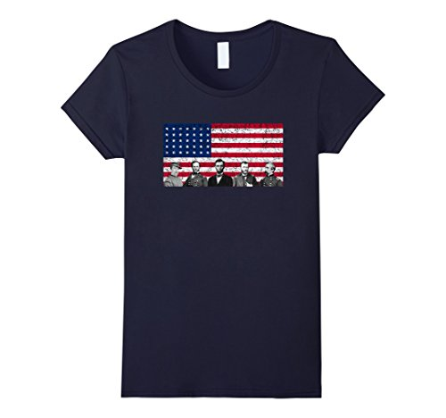 Women's Union Civil War Heroes and The American Flag Shirt  XL Navy Civil War Clothing Women