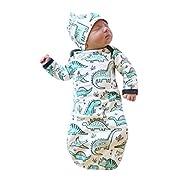 Sunbona Sleep Sack for Toddlers, 2Pcs Newborn Baby Cartoon Dinosaur Swaddle Wrap Sleeping Bag Kids Pajamas Gown+Hat Set