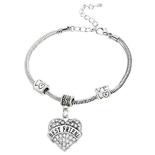 DODIY Best Friend Crystal Bracelet Silver Steel Chain Love Hearts Metal Pendant Bracelets Sparkle Rhinestone for Gift Jewelry (Silver)