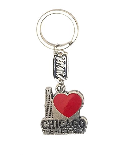 City of Chicago Souvenir I Heart Chicago Key Ring Keepsake -