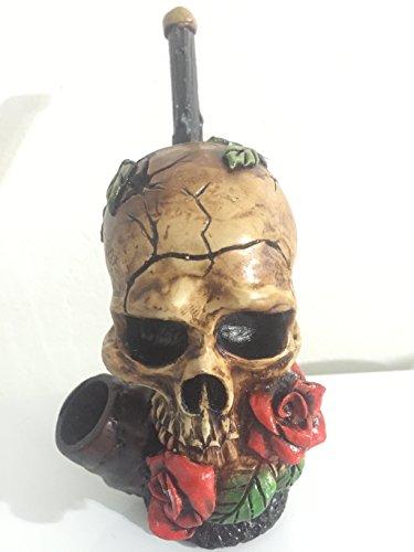 (Handmade Tobacco Pipe, Skull & Roses)