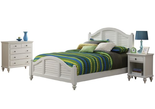 Bedroom Mahogany Poster Bed - Home Styles Bermuda Queen Bed/Night Stand and Stand, White Finish