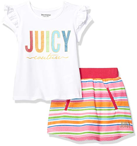 Juicy Couture Girls' Toddler 2 Pieces Scooter Set, White/Pink Stripes 4T