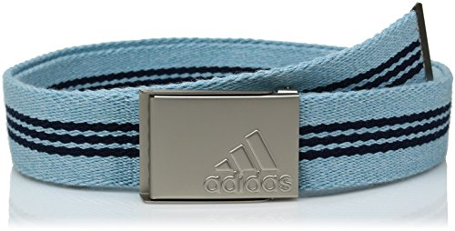 (adidas Golf Stripe Webbing Belt, Light Aqua/Dark Slate, One Size)
