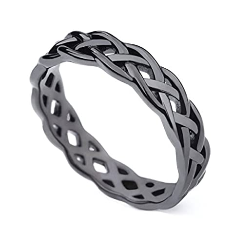 925 Sterling Silver Black Celtic Knot Eternity Band Ring Engagement Wedding Band 4mm Size 4 - 11 - Celtic Love Symbol