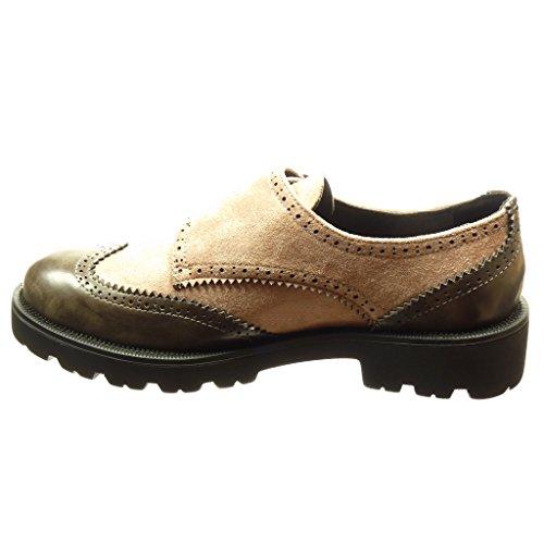 Angkorly - Chaussure Mode Derbies bi-matière femme boucle perforée Talon bloc 3.5 CM - Rose