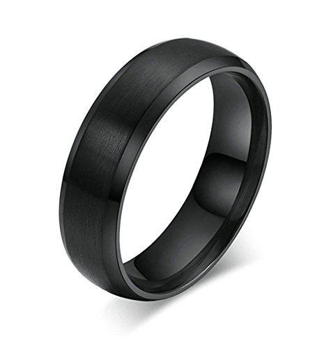 Aooaz Boys Mens Stainless Steel Ring, Matte Polished Retro Wedding Band Black Gothic Size 5 Novelty Ring