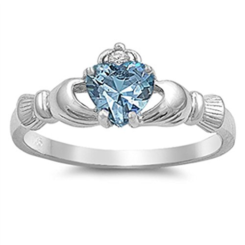Simulated Aquamarine Claddagh Detailed Friendship Ring Sterling Silver Band Size 6