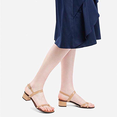 Camello Playa WYYY De De Temporada Abierta Talón Fiesta Retro De Casuales Bloque Cruzado Zapatos Verano Bajo De Mujer Bajo De Zapatos Sandalias Clip Zapatos Cinturón Punta Punta Tacón qnFxrqp