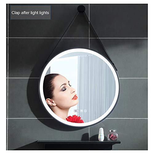 Smart Touch Led Light Bathroom Mirror, Wall-Mounted Round Mirror, Black Frame Washstand -