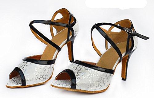 Peep Women's High Shoes TDA Latin Ankle Toe Strap Stiletto Heels Snakeskin Tango Classic Dance Silver qw55pg