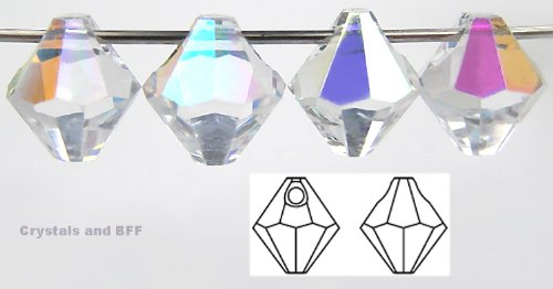 Machine Cut Bicone - 6mm Crystal AB coated, Czech Machine Cut Top Drilled Bicone Pendant (6301 Shape), 12 pieces