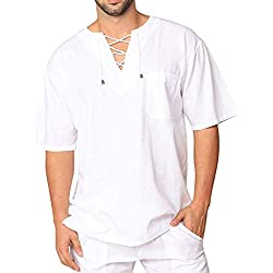 COOFANDY Mens Fashion T Shirt Cotton Tee Hippie Shirts Short Sleeve Beach Yoga Top White