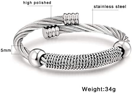 CICIMOTO Elastic Adjustable Stainless Steel Twisted Cable Cuff Bangle Bracelet for Mens Womens