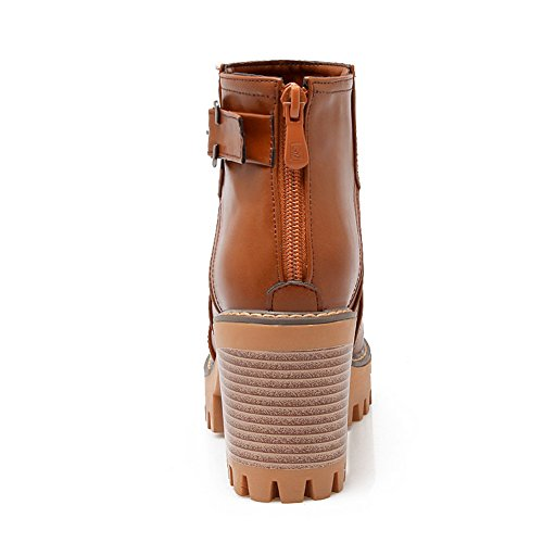 BalaMasa Zipper Boots Buckle Brown Back Heels Chunky Leather Platform Ladies Imitated nU1wqYWUr6