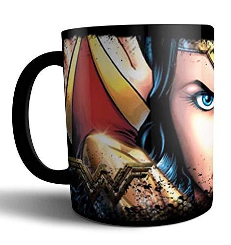 Caneca de Porcelana Preta Mulher Maravilha Wonder Woman 325ml - Único - Preto