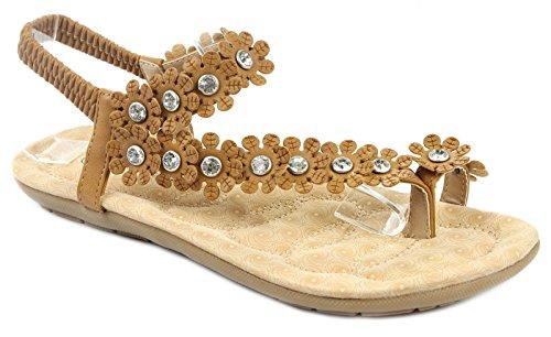 Womens Petal Slingback Sandal (Forever Calista68 Womens Petal Rhinestone Flower Ankle Strap Slingback Thong Sandals,Tan,6)