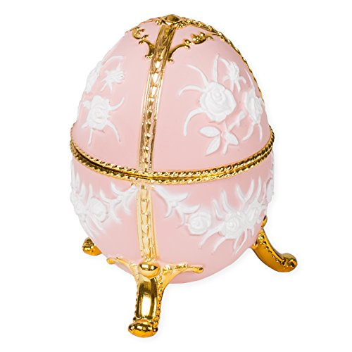 Matte Pink Filigree Faberge Egg Shaped Metal Musical Figurine Plays Ode to Joy