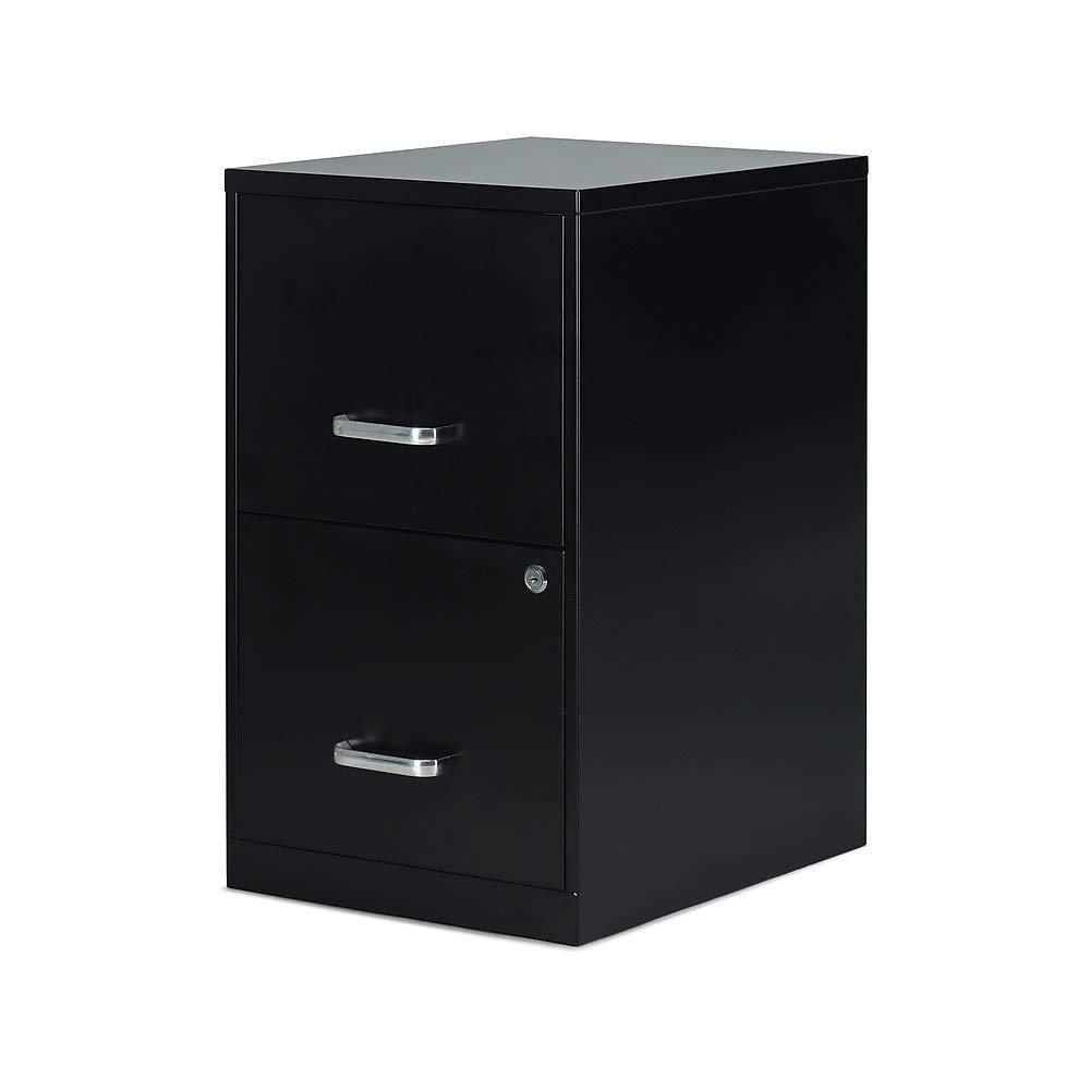 Staples 2806262 2-Drawer Vertical File Cabinet Locking Letter Black 18''D (52149)