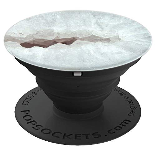 - White Mineral Teal Agate Quartz Crystal Clear Opal Marble - PopSockets Grip and Stand for Phones and Tablets