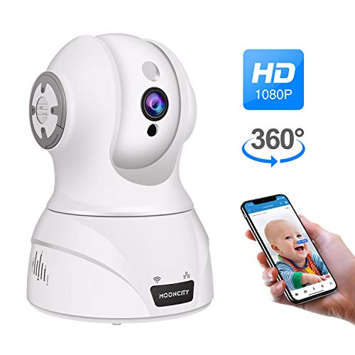 WiFi Pet Camera, Pan Tilt Zoom 1080P WiFi IP Home Security Camera Pet Dog Baby Monitor Camera 2 Way Audio, Motion Detection, Night Vision, Compatible with Alexa White