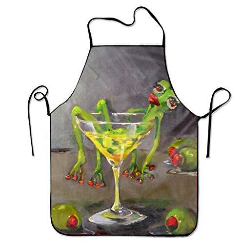 Aprons Women Drunk Frog Aprons Chef Kitchen Cooking Men Baking Bib BBQ Apron