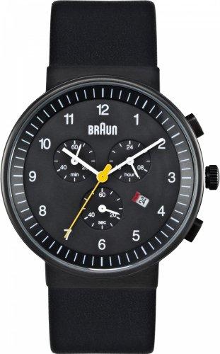 Braun Chronograph Watch Black Leather
