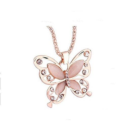 (Fashion Womens Lady Rose Gold Opal Butterfly Pendant Necklace Sweater Chain)