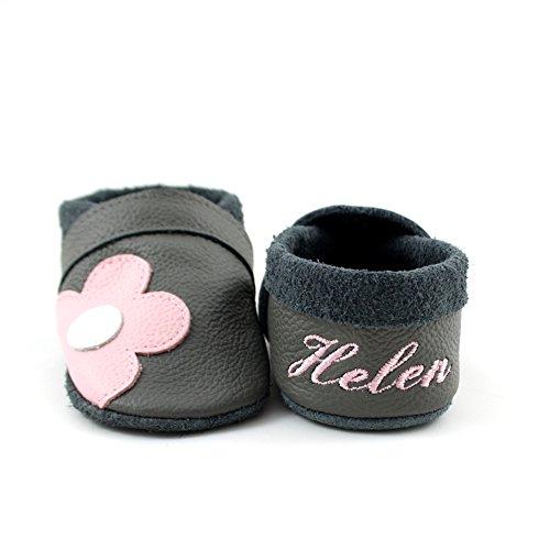 little foot company® 3922 Krabbelschuhe Babyschuhe Lauflernschuhe mit Namensstickerei Blume weiches Leder steingrau 16/17 ca. 6-10 Monate