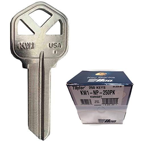 - MSPowerstrange 250 KW1 Key Blanks/Kwikset KW1/NP/Nickel Plated Over Brass for Locksmith/Made by Ilco
