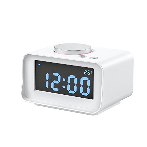 Electronic LED Alarm Clock, Mute Luminated Bedroom Digital Clock With Multi-functions of Temperature, Speaker, USB Phone Charger, FM, Dual-alarm, Dimmable Backlight, AUX Audio for Indoor Home Use by MansWill