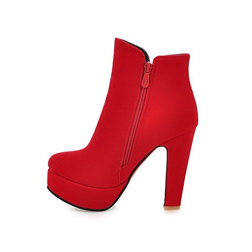 AgooLar Damen Rein Hoher Absatz Reißverschluss Rund Zehe Stiefel, Rot, 35