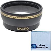 Pro Series 58mm 0.43x Wide Angle Lens + Microfiber Cloth for Canon EF-S 18-55mm 3.5-5.6 IS II Lens, Canon EF-S 18-55mm 3.5-5.6 IS STM Lens, Canon EF 75-300mm 4-5.6 III USM Lens and Other Models
