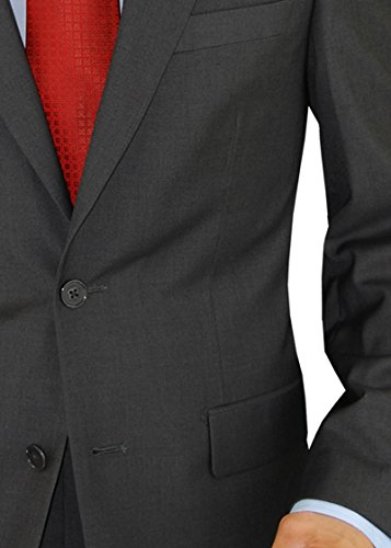 Presidential Giorgio Napoli Men's 2 Button Suit Separate Coat Blazer (40 Short US, Charcoal)