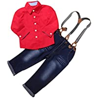 Clearance! Napoo 1Set Kids Toddler Boys Handsome Red Button Shirt+Braces Jeans Trousers Clothes Outfits