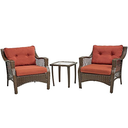 3 Piece Outdoor Patio Wicker Furniture Set With Deep Seat Cushions (Terracotta) (Patio Discount Furniture Sale Sets)