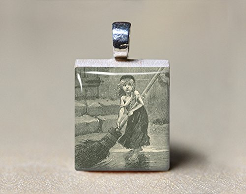 Les Miserables Cosette Sweeping with a Broom Scrabble Tile Pendant