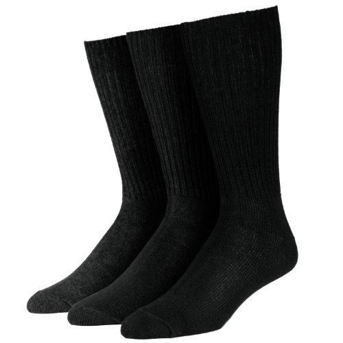 Calvin Klein Men's 3 Pack Cotton Rich Casual Rib Socks, Black, Sock Size: 10-13/Shoe Size:9-11