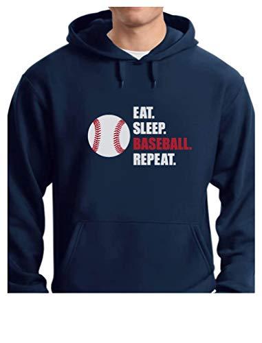 TeeStars - Eat Sleep Baseball Repeat Best Gift for Baseball Fans Hoodie Medium Blue