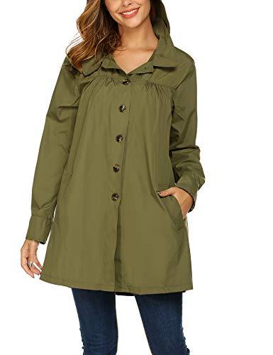 Beyove Women Long Sleeve Lightweight Waterproof Outdoor Raincoat W/Hooded Army Green X-Large