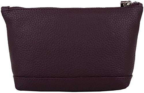 Genuine Womens Burgundy Bag Leather SNUGRUGS Soft Case Make Up 4gqAB