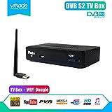 DVB-S/S2 FTA Satellite Receiver TV Tuner with RJ45 LAN Port, Including an USB Wifi Dongle, Mpeg-4 Decoder Digital Set Top Box, Work with LNB Satellite Dish