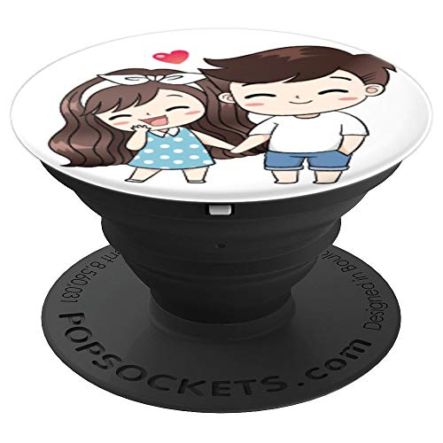 Happy Cute Couple In Love Cartoon - PopSockets Grip and Stand for Phones and Tablets]()