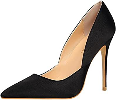 PPXID Women's Fashion Satins Pointed-Toe High Heels Pumps Party Stilettos Black Size: 5