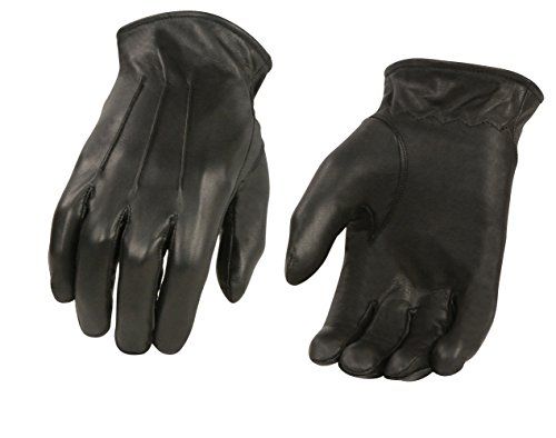 M-BOSS MOTORCYCLE APPAREL-BOS37504-BLACK-Men's motorcycle cowhide leather gloves lined.-BLACK-SMALL