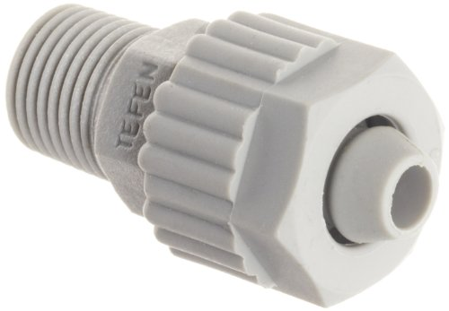 Tefen Fiberglass Polypropylene Compression Tube Fitting, Adapter, Gray, 1/4