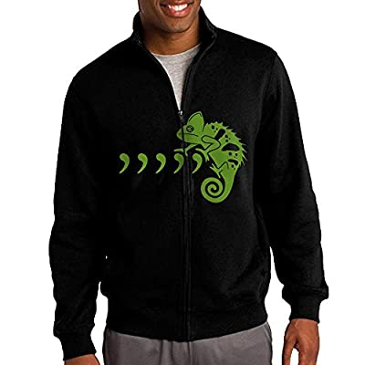 GNGN Mens Cool Green Chameleon Mountain Climbing Cool Standup Collar Jacket Zip Sweatshirt Leisure Style Black