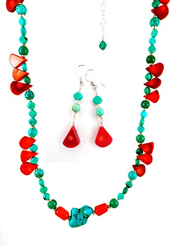 ral Gemstone Beaded Long Necklace with Sterling Silver and Matching Earrings ()